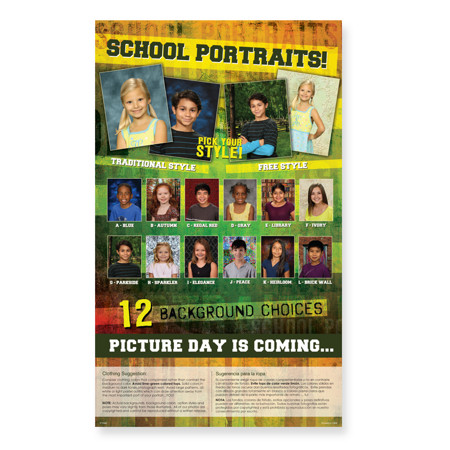 P1096  Picture Day is Coming: 12 Backgrounds with 2 Large Images