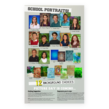 P1122  Fall School Portraits with 12 Background Choices Prepay Flyer