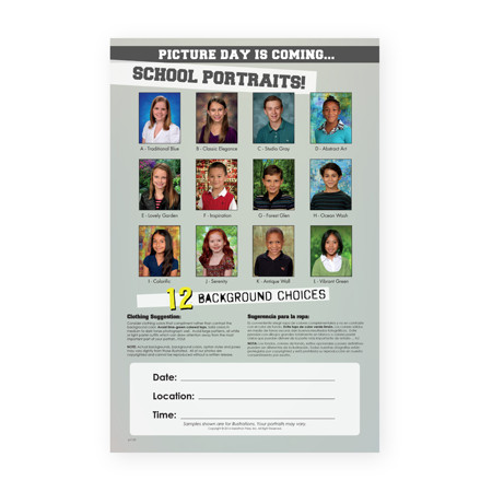 P1123  Picture Day is Coming: 12 Backgrounds Poster with Small Images
