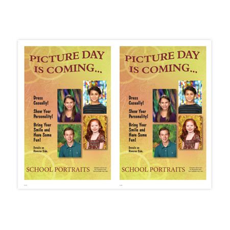 P1137  Fall School Portraits - 12 Background Choices and Personalization 2-Up Picture Day Notice