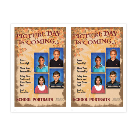 P1138  Fall School Portraits - Personalization 2-Up Picture Day Notice